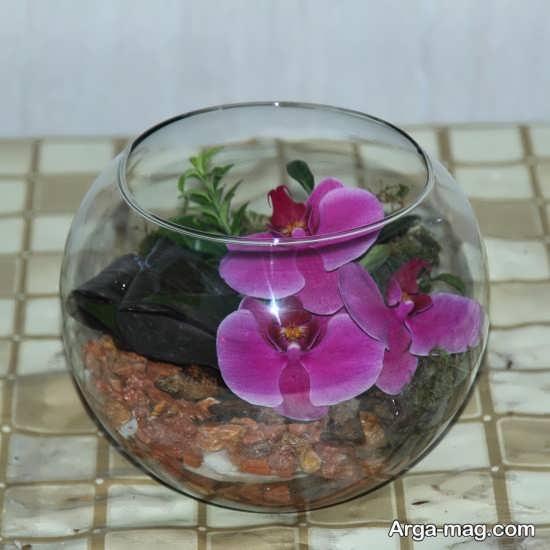 تزیین شیک گلدان شیشه ای