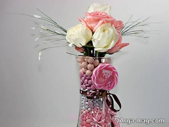 خلاقیت در تزئین گلدان شیشه ای