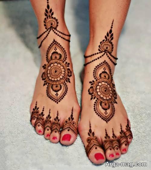 طرح زیبا حنای روی پا