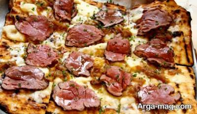پیتزای استیک و گوشت