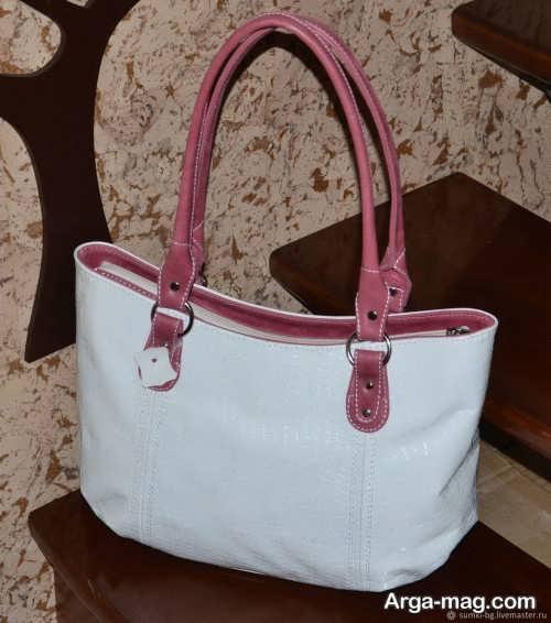 کیف سفید و ساده زنانه
