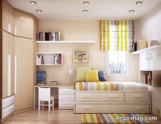 گالری شیک و متنوع طراحی اتاق خواب کوچک و کم عرض