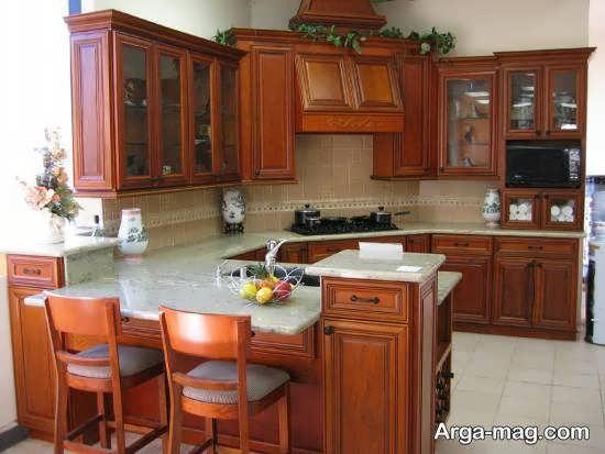 انواع چیدمان های آشپزخانه چوبی زیبا و مدرن