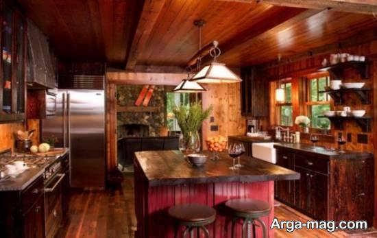 نمونه های شیک و مدرن طراحی آشپزخانه چوبی