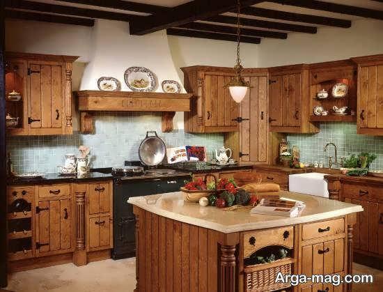 انواع ایده های شیک و متنوع دکوراسیون آشپزخانه چوبی
