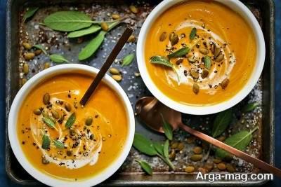 تزیین سوپ کدو حلوایی