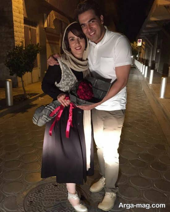 عکس عاشقانه الهام طهموری و همسرش حامد احمد جو