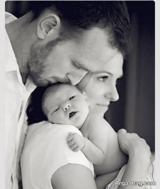 طرح هایی خاص از ژست تصویر نوزاد با پدر و مادر