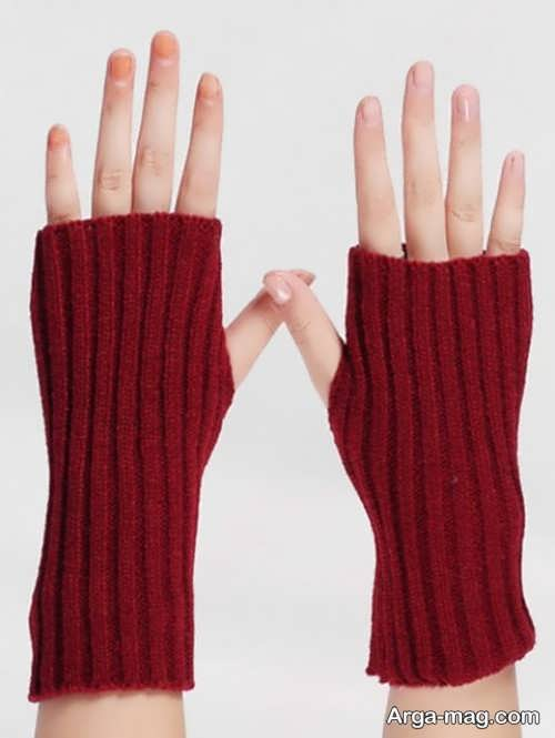 دستکش ساده بافتنی