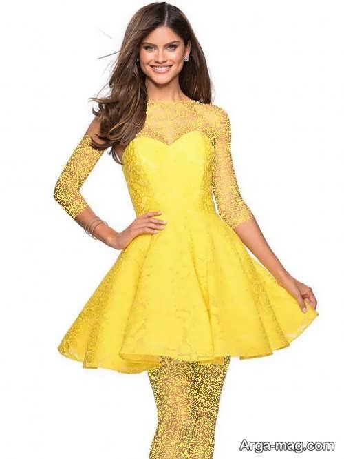 لباس مجلسی زرد کوتاه
