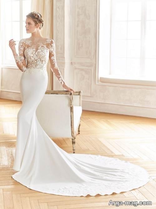 لباس عروس کار شده با گیپور