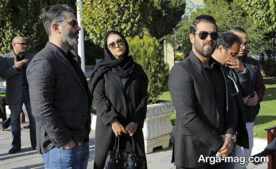 پژمان بازغی به همراه لاله اسکندری در تشییع جنازه مجید اوجی