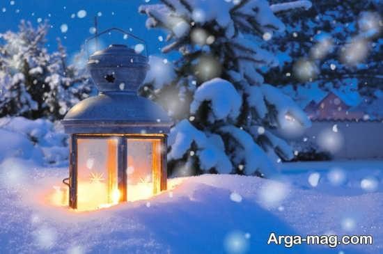 تصویر جالب از چراغ در برف