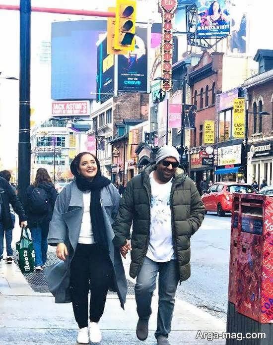نرگس محمدی و همسرش در خیابان های کانادا