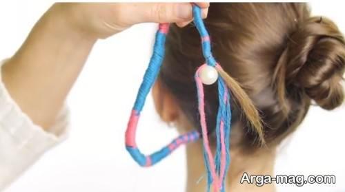 قرار دادن مهره در انتهای موها