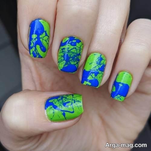 طراحی ناخن با لاک آبی و سبز