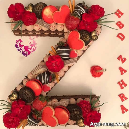 طرح کیک با حرف انگلیسی Z
