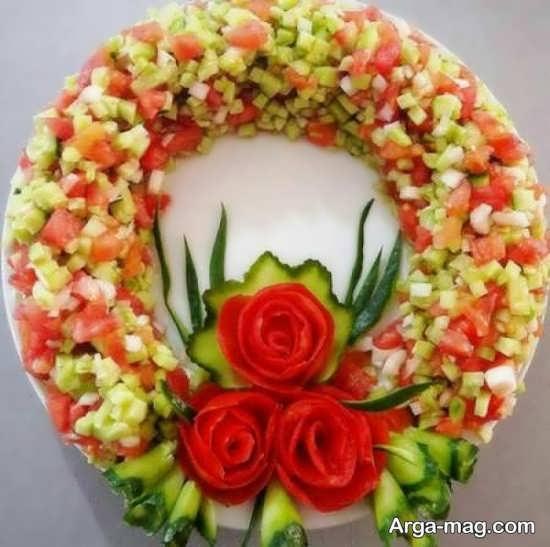 دیزاین هنرمندانه سالاد خیار و گوجه