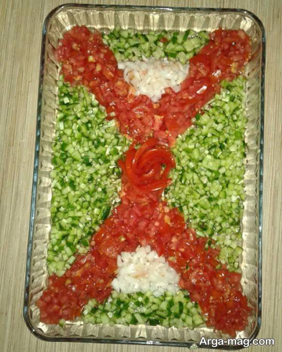 تزیین جذاب سالاد خیار و گوجه