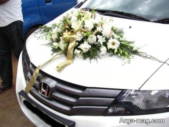 تزیینات زیبای ماشین عروس با روبان