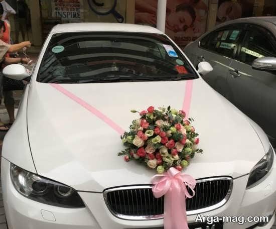 دیزاین شکیل ماشین عروس با روبان