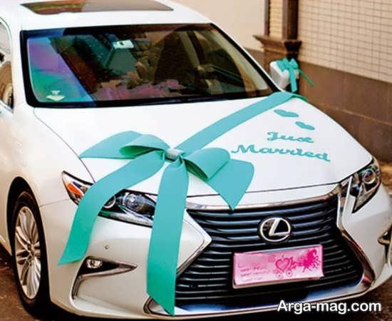 آذین ماشین عروس با روبان