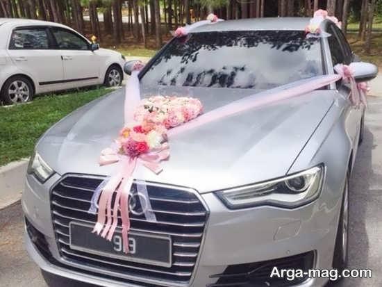 دیزاین لاکچری ماشین عروس با روبان