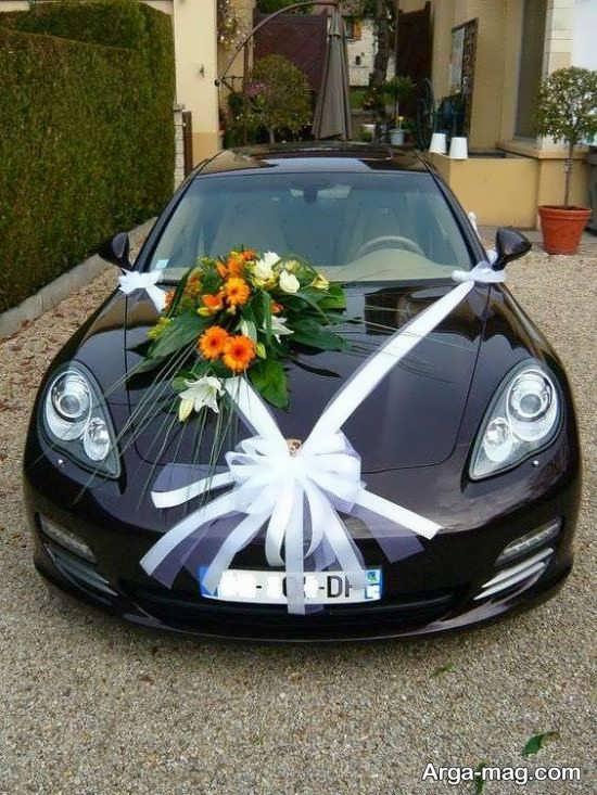 دیزاین ماشین عروس با روبان و گل