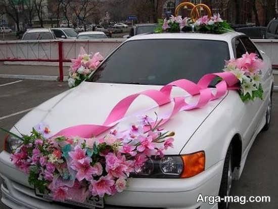 دیزاین شیک ماشین عروس با روبان