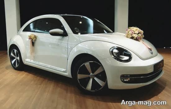 تزیینات ماششین عروس با گل و روبان