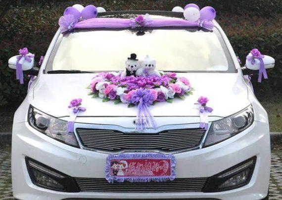 تزیین ماشین عروس با روبان
