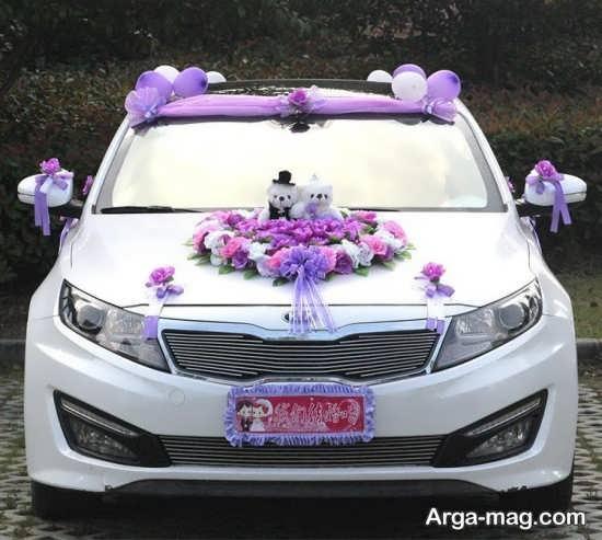 دیزاین لوکس ماشین عروس با روبان