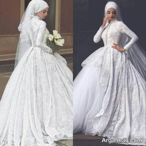 مدل لباس عروس حجاب دار