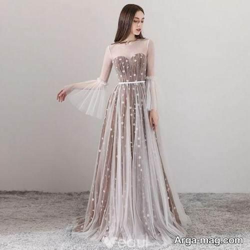 لباس عروس بلند و کار شده برای شب یلدا