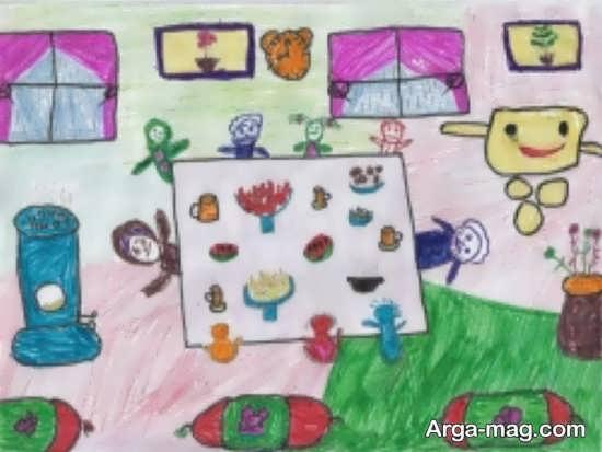 ۴۰ نقاشی کودکانه شب یلدا از تزئینات و سنت های زیبای طولانی ترین شب سال