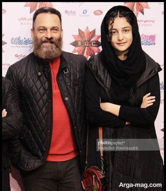 حسین یاری و دخترش در اکران فیلمک سینمایی خداحافظ دختر شیرازی