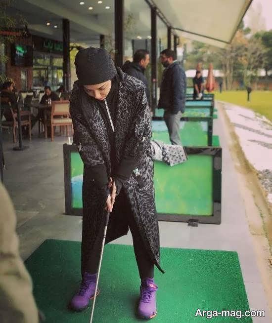تصاویر جذاب از لیلا اوتادی در حال گلف بازی کردن