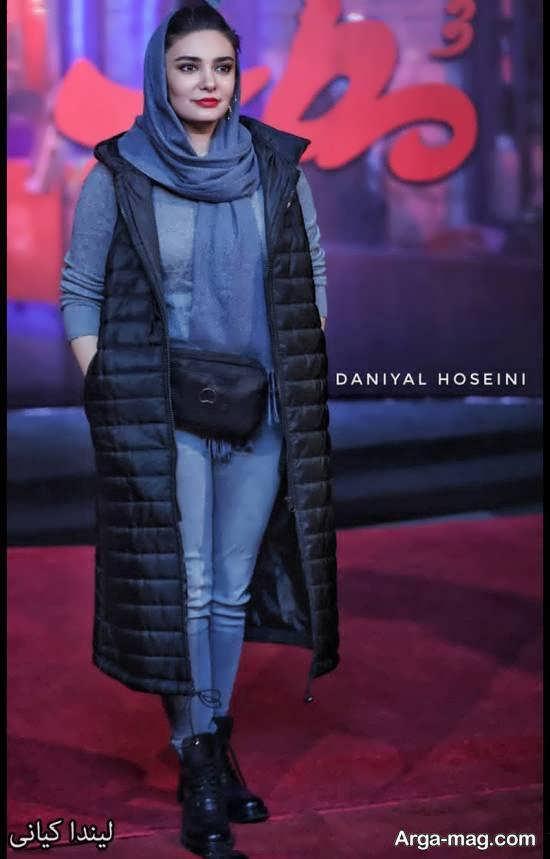تیپ متفاوت و لاکچری لیندا کیانی در اکران فیلم سینمایی مطرب