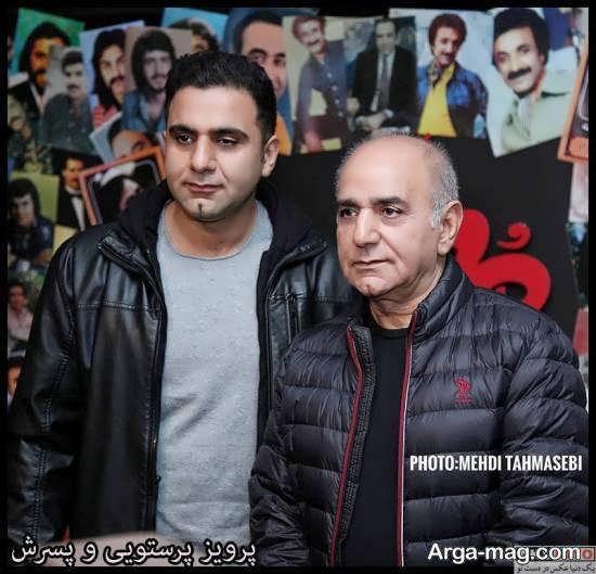 پرویز پرستویی و پسرش در مراسم اکران فیلم سینمایی مطرب