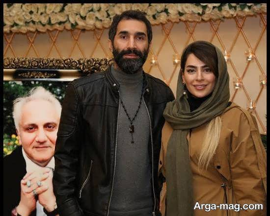 سمانه پاکدل و همسرش هادی کاظمی در مراسم بزرگداشت علی معلم