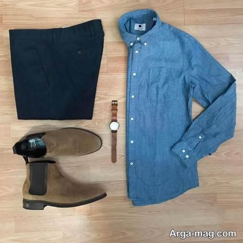 ست لباس آبی و قهوه ای مردانه
