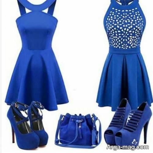 ست رنگ آبی لباس مجلسی