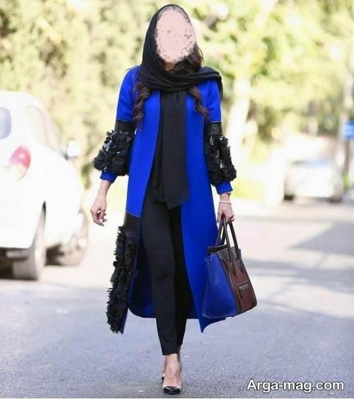 مانتوی مشکی و آبی زنانه