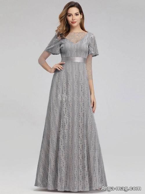مدل لباس شب خاکستری