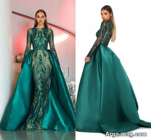 طرح لباس شب سبز