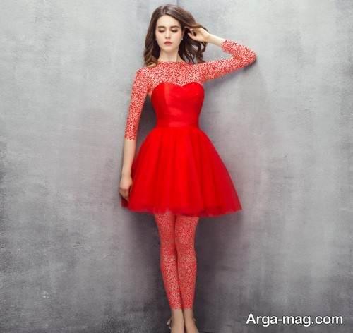 مدل لباس شب قرمز و کوتاه