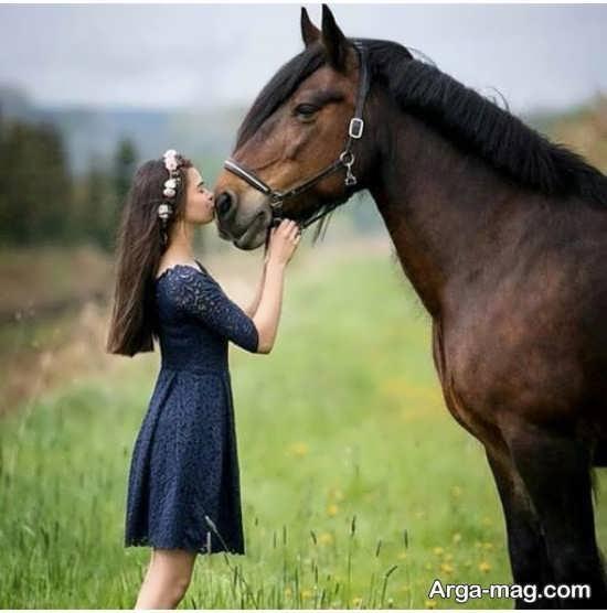 ژست احساسی و خاص با اسب