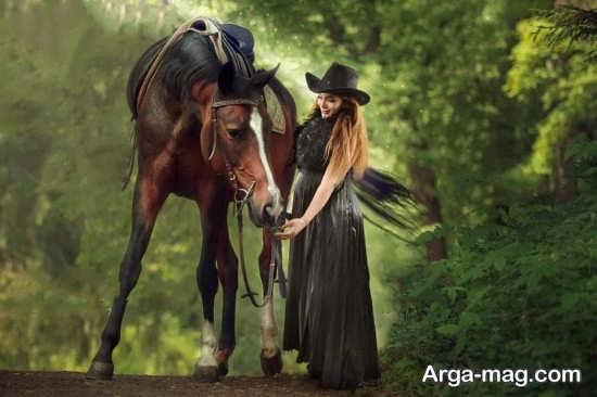 ژست عکس زیبا و جدید با اسب