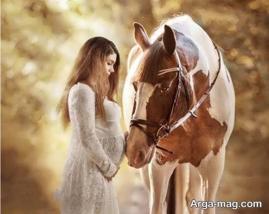 ژست عکس باردار با اسب
