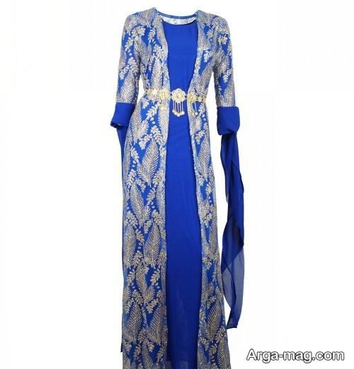 پیراهن آبی و محلی زنانه
